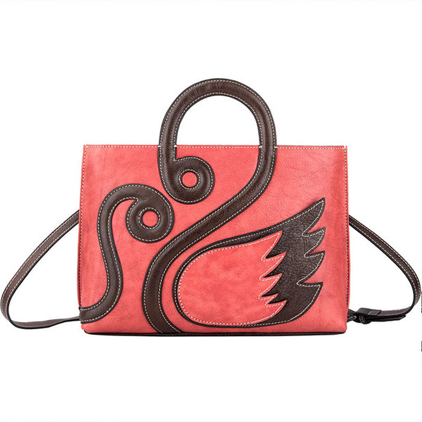Retro Large Women Handbag Creative Swan Handmade Shoulder Bag