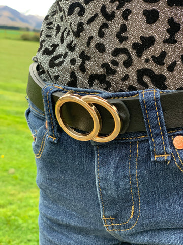 Girls Belt in Black + Gold