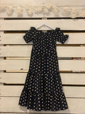Swing Dress in Navy Polka-dot