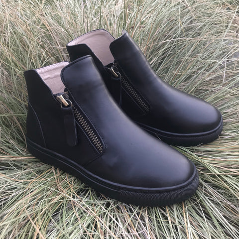 Ankle Boots in Black + Black