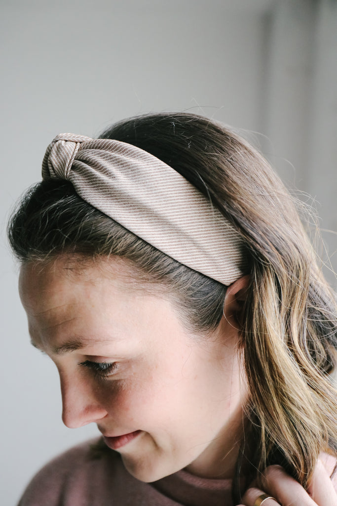 Striped Top Knot Headband
