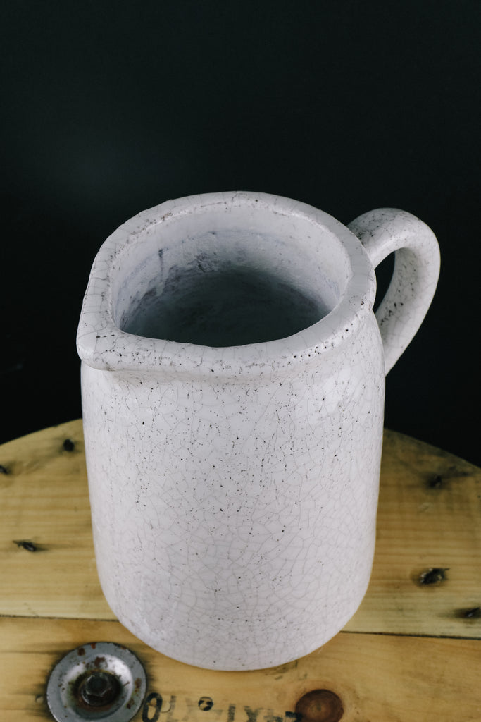 White Crackle Pitcher
