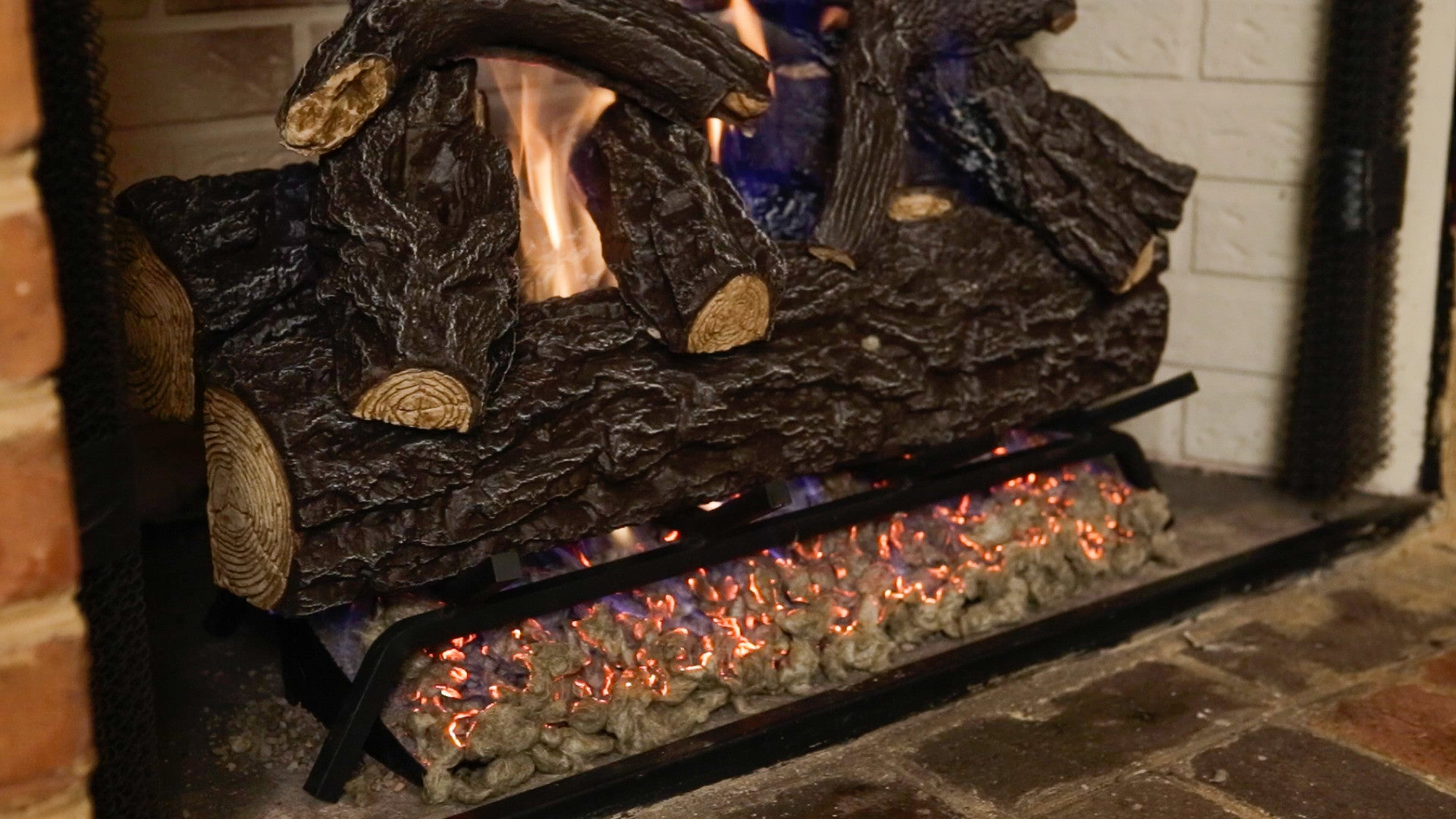 vented gas log fireplace glowing embers emberside