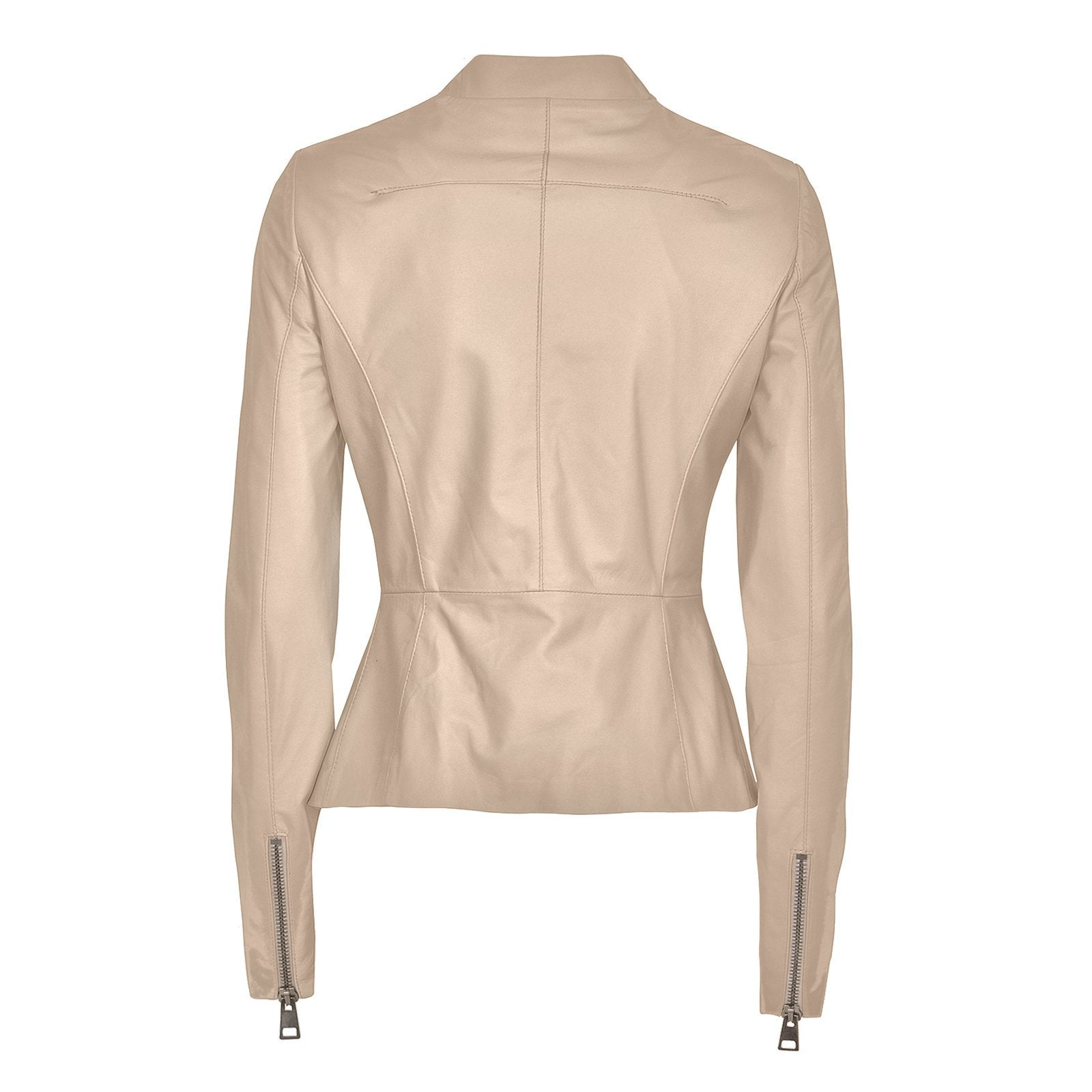 Custom Made Women's White Leather Jacket, Made in Italy