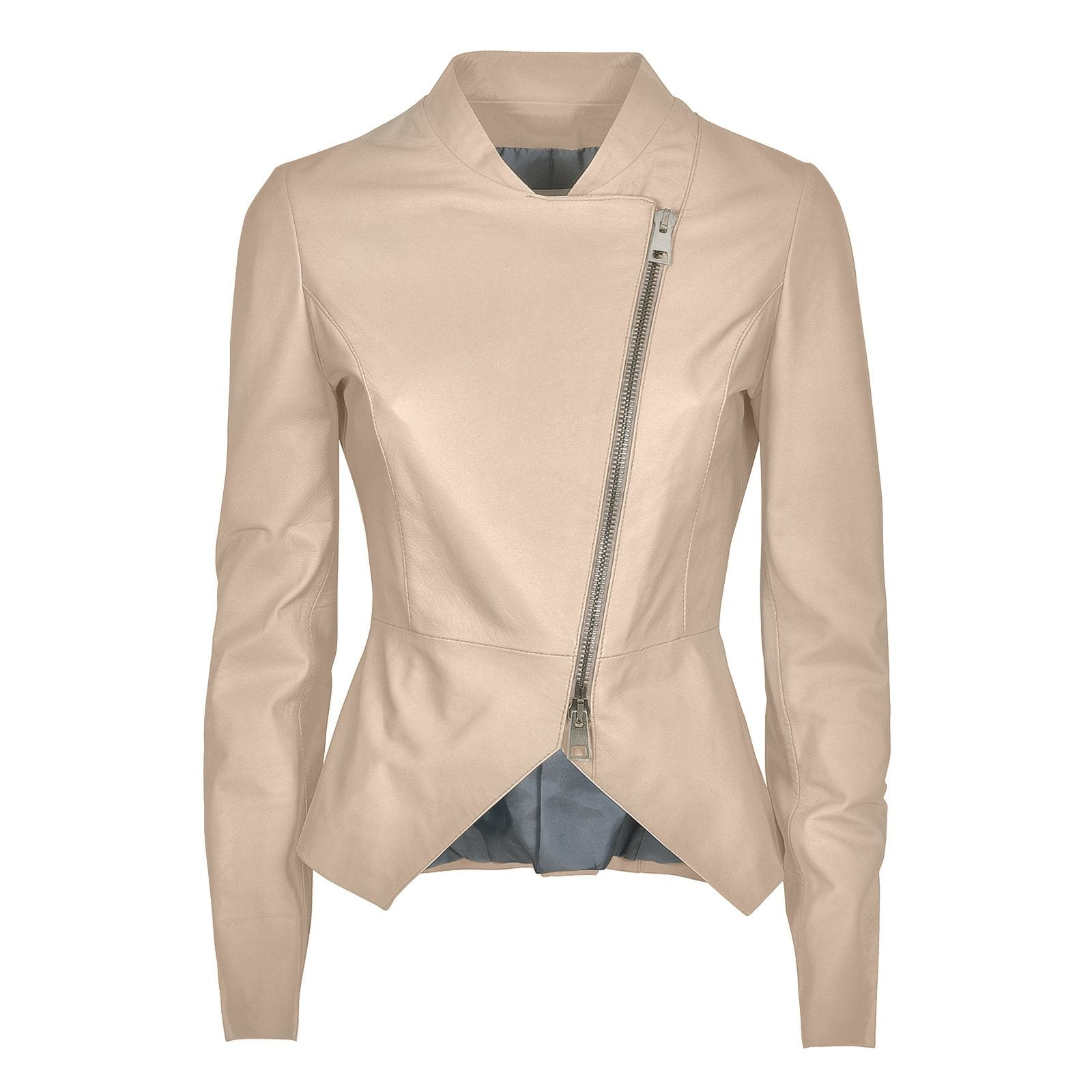Custom Made Women's White Leather Jacket, Made in Italy - The