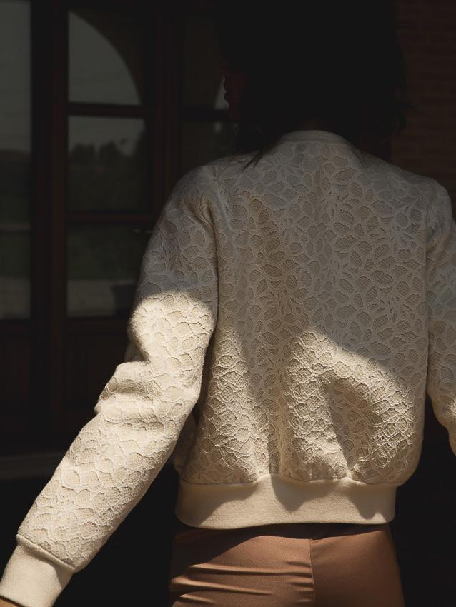 The Lace Bomber Jacket — Ivory