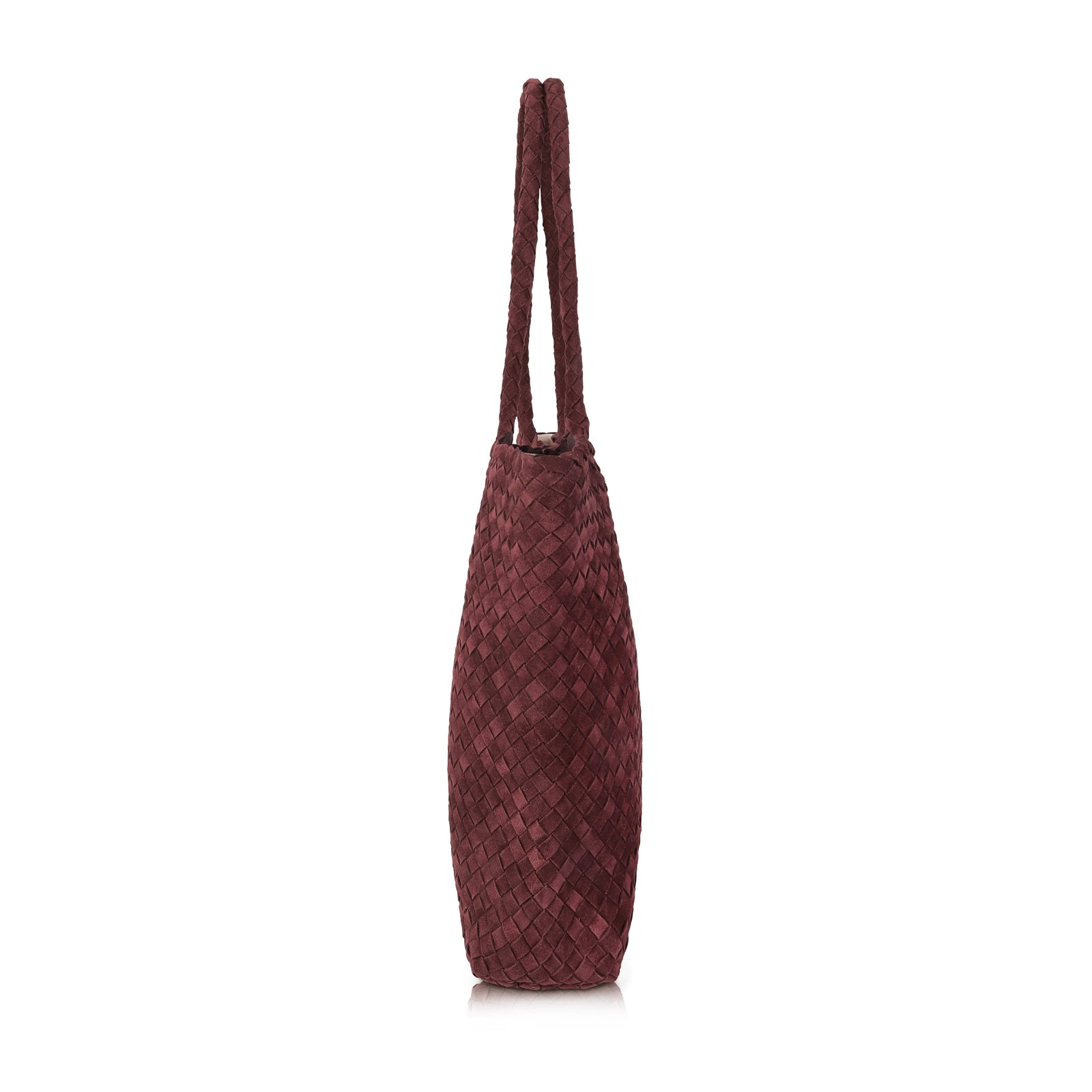 The Classic Elena Woven Handbag - Burgundy Suede