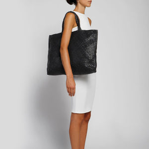 The Elena Woven Handbag in Black