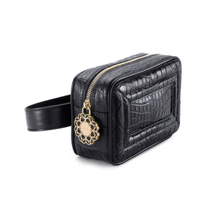 The Camera Belt Bag in Embossed Crocodile