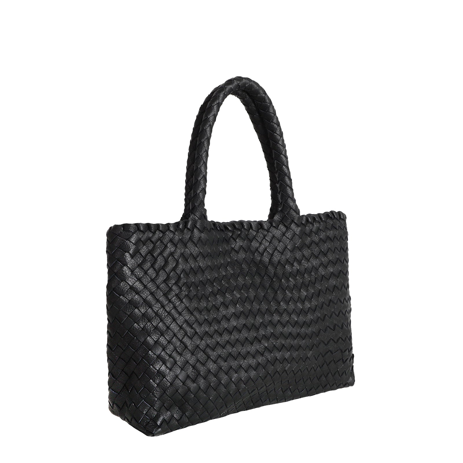 The Mini Elena Woven Handbag in Black