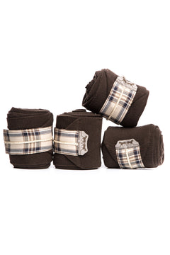 Marta Morgan Fleece Bandages (Brown Fleece with a Brown Tartan Trim)