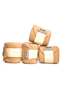 Marta Morgan Fleece Bandages (Beige Fleece with a Patent Trim)
