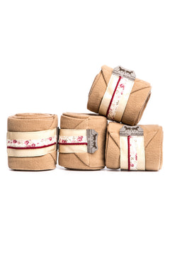 Marta Morgan Fleece Bandages (Beige Fleece with a Floral Trim)