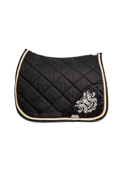 Marta Morgan Cotton Swarovski Saddle Blanket (Black Cotton with Swarovski Detail and Beige Trim)