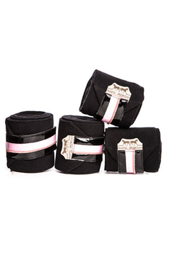 Marta Morgan Fleece Bandages (Black Fleece with a Pink Trim)