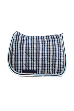 Marta Morgan Cotton Saddle Blanket (Blue Tartan Cotton)