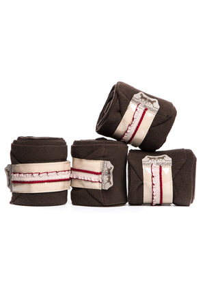 Marta Morgan Fleece Bandages (Brown Fleece with a Beige Frilly Trim)