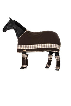 Marta Morgan Fleece Rug (Chocolate Brown with Brown Tartan Band)