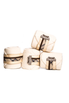 Marta Morgan Fleece Bandages (Cream Fleece with a Brown Tartan Trim)