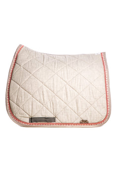 Marta Morgan Cotton Saddle Blanket (Grey Cotton with Pink Flower Trim )