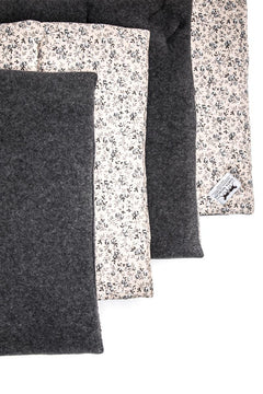 Marta Morgan Stable / Travel Bandage Pads (Grey Fleece with a Beige Floral Cotton)