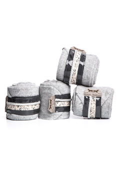 Marta Morgan Fleece Bandages (Grey Fleece with a Beige Floral Trim)