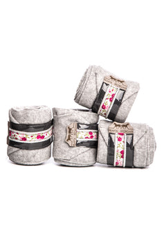 Marta Morgan Fleece Bandages (Grey Fleece with a Floral and Grey Trim)