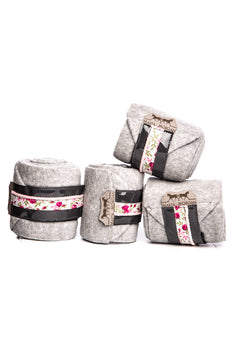 Marta Morgan Fleece Bandages (Grey Fleece with a Floral and Pink Trim)