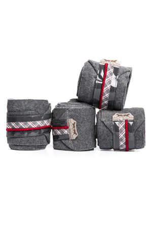 Marta Morgan Fleece Bandages (Grey Fleece with Maroon Tartan Trim)