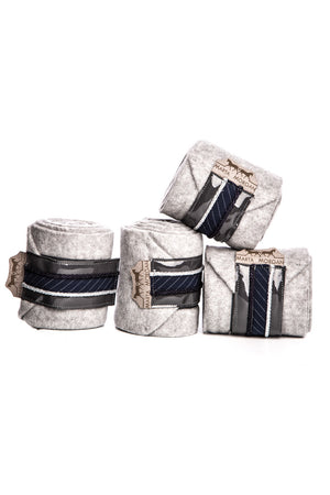 Marta Morgan Fleece Bandages (Grey Fleece with a Navy Stripe Detail)
