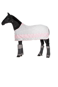Marta Morgan Fleece Rug (Grey with a Pink Floral Band)