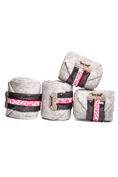 Marta Morgan Fleece Bandages (Grey Fleece with a Pink Floral Trim)