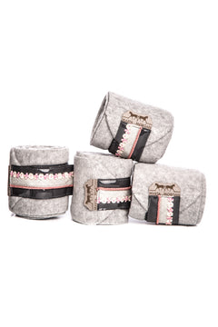 Marta Morgan Fleece Bandages (Grey Fleece with a Pink Flower Trim)