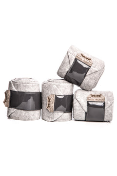 Marta Morgan Fleece Bandages (Grey Fleece with a Patent Trim)