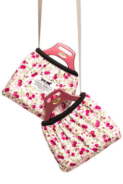 Marta Morgan Stirrup Cover (Grey with a Pink Floral Pattern)