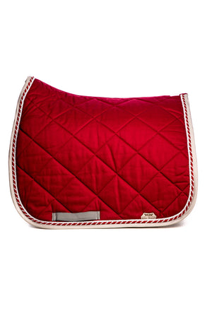 Marta Morgan Cotton Saddle Blanket with Swarovski Detail (Maroon Cotton with Maroon and Silver Trim)