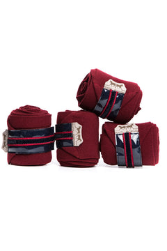 Marta Morgan Fleece Bandages (Maroon Fleece with a Maroon and Navy Trim)