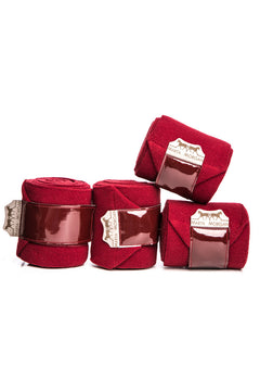 Marta Morgan Fleece Bandages (Maroon Fleece with a patent Trim)