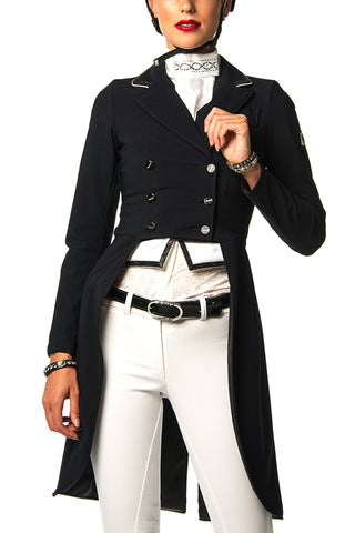 Image of the custom riding boot: D - Grace Frac Competition Jacket (Black, White Piping)