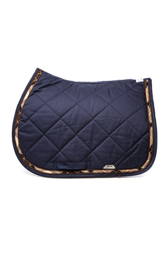 Marta Morgan Cotton Saddle Blanket (Navy with Tartan Trim)