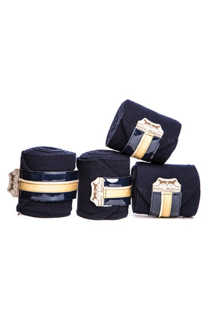 Marta Morgan Fleece Bandages (Navy Fleece with a Beige Trim)