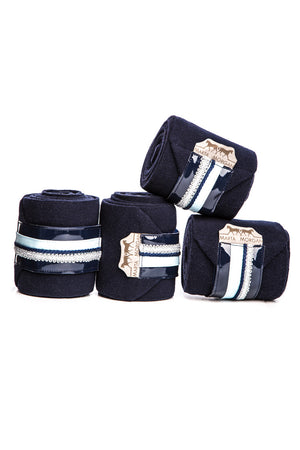 Marta Morgan Fleece Bandages (Navy Fleece with a Light Blue Trim)