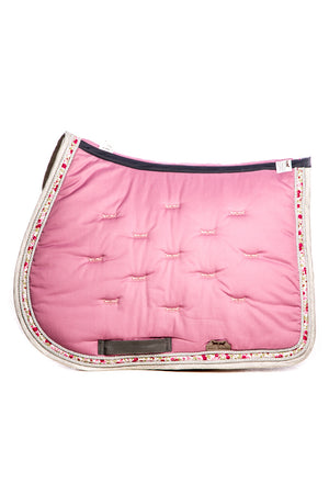 Marta Morgan Cotton Saddle Blanket (Pink Cotton with Floral Trim)