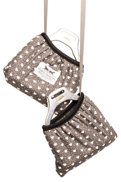 Marta Morgan Stirrup Cover (Grey with a Heart Pattern)