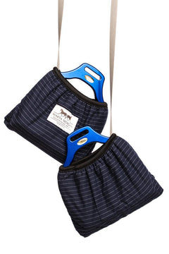 Marta Morgan Stirrup Cover (Navy with Silver Stripes)