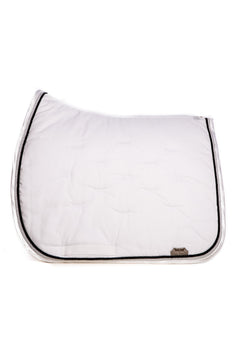 Marta Morgan Cotton Saddle Blanket (White Cotton Black and Silver Trim)