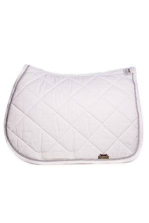 Marta Morgan Cotton Saddle Blanket (White Cotton Silver Trim)