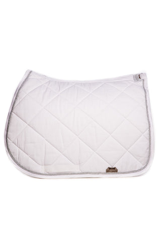 Image of the custom riding boot: Marta Morgan Cotton Saddle Blanket (White Cotton Silver Trim)