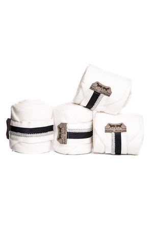 Marta Morgan Fleece Bandages (White Fleece with a Black and Silver Trim)