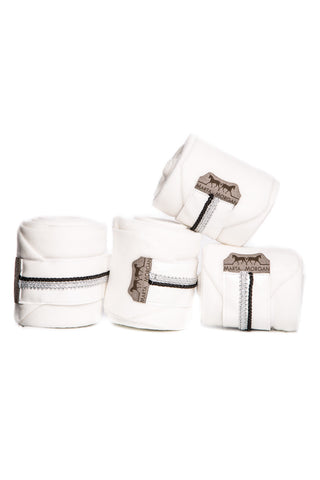 Image of the custom riding boot: Marta Morgan Fleece Bandages (White Fleece with a Silver Trim)